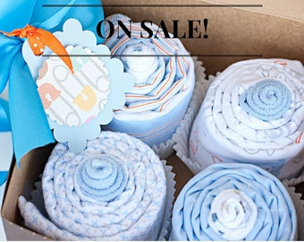 ON SALE Baby Receiving Blanket Cupcake Baby Shower Gift