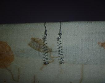 metal spring earrings, ecofriendly spiral dangle earrings