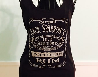 Jack Sparrow Rum Shirt,  Pirates of the Caribbean, Pirate, Black with silver glitter racerback tank top