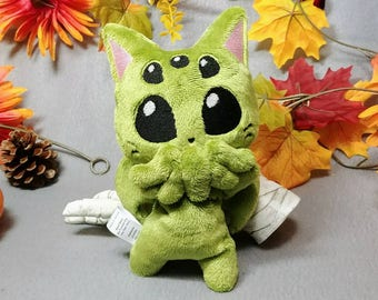 Cthulhu inspired Cat-thulhu plush, Lovecraft Monster Kitten beanie plush, floppy cat plush, kuttari kitty, bean bag plush