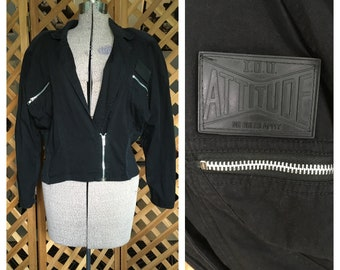 Vintage Womens 1980s 1990s Oversize Black IOU Clothing Jacket Goth Club Kid Retro Medium