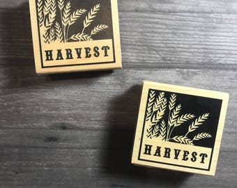 Harvest Word Small Wooden Block Stamp