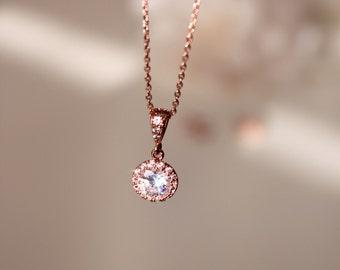 Delicate Necklace Petite Rose Gold Bridesmaid Gift Necklace Rose Gold Necklace Rose Gold Wedding Gift Bridesmaid Necklace Bridesmaid Jewelry