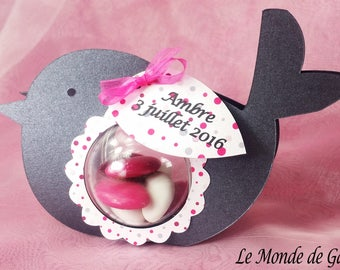Dragees box anthracite grey bird and fuchsia for baptism