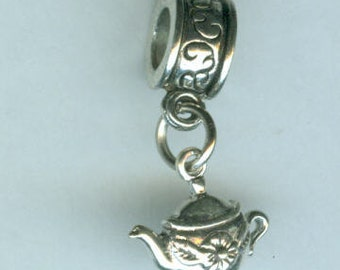 Sterling Silver TEA POT Bead Charm for  all Name Brand Add a Bead Bracelets