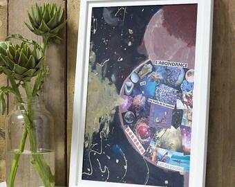 Pregnant woman, abundance, abstract, postcard painting