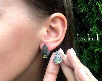 """Chrysolite earrings, mint silver earrings, chrysolite studs. Chrysolite studs """"Elements of feelings"""" from Kochut."""