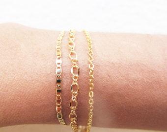 dainty figaro chain bracelet stackable bracelets gold layering bracelets, layered bracelet