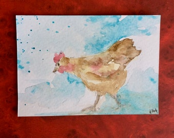Chicken ORIGINAL Miniature Watercolour ACEO Wildlife art Hen Fowl Watercolor painting For him For her Home decor Wall art Gift Idea