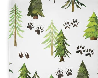 Woodland Trees Changing Pad Cover | Woodland, Trees, Green, Animal Footprints, Baby Boy Changing Pad Cover | Woodland Nursery