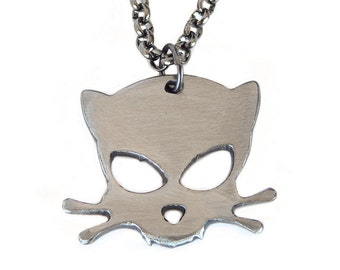 Metal Outlaw Kitty Pendant by WATTO Distinctive Metal Wear, Jackson Galaxy, Cat Charm, Cat Daddy, Cat Necklace