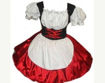 Heidi Halloween Costume German Barmaid Swiss Maid Oktoberfest Dress Womens Adults Handmade Custom Size Made to Measue including Plus Size