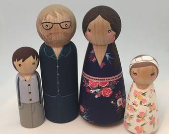 Custom Peg Doll Family of 4 - 2 adults, 2 Children/Pets