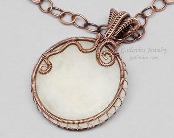 Snow Quartz and Copper Pendant Necklace