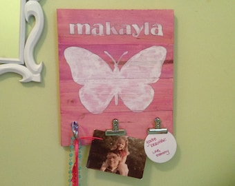 Bedroom Wall Art, personalized, Clip, clipboard, sign, organize,nursery, butterfly, custom, Jewelry, girl, Artwork