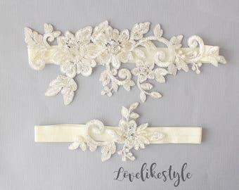 Wedding Garter Set, Ivory Beaded Lace Garter Set,Bridal Wedding Grter,Wedding Garter Set, Ivory Wedding Garter - 1804