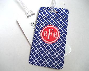 Kofferanhänger - Navy blau und rot benutzerdefinierte Monogramm Kofferanhänger paar - personalisierter Kofferanhänger für Tag - marineblau-Reisen - Ihr Monogramm