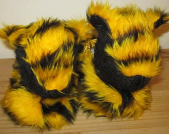 Kids Tiger Slippers Made to Measure Cool Kids Footwear Yellow Tiger Print Plushies For All Kids Practical Kids Present Any Occasion Present