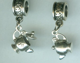 Sterling Silver TEA POT Bead Charm for all Name Brand Add a Bead Bracelets- 3d Moveable