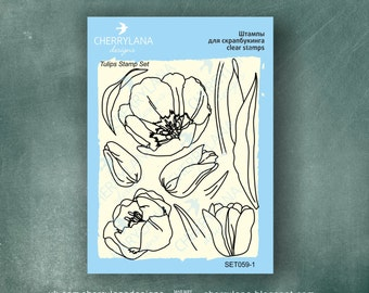 "Tulips Set of Flower Stamps 4x6"" Clear Photopolymer Rubber Flower Stamp Set"