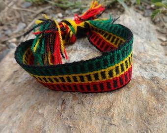 Andean Rainbow bracelets, Rasta Bracelet - Rasta Handmde Bracelet - Rasta Braided Bracelet - Black Bracelet - Reggae Bracelet Jamaica