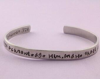 VENTE - 3:6-de proverbes dans toutes tes voies reconnais-le, et il aplanira tes sentiers - main estampillée Cuff Bracelet - Bracelet réglable
