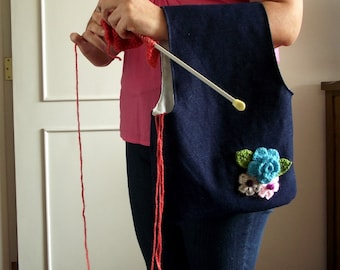 Project Bag Wristlet Yarn Bag for Knitting Crochet Projects Pouch bag with Crochet Flowers embellishment Yarn Bag Yarn Project wrist bag #13