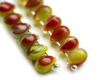 30pc Small teardrops, czech glass beads - Lime Green, Red, Yellow mixed color drops - 5x7mm - 25pc - 0045