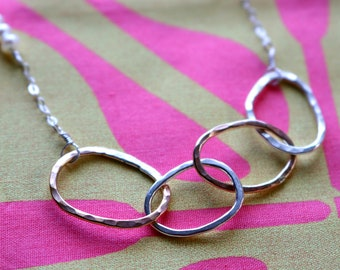 Four Organic Infinity Rings Necklace 4 Eternity Mixed Metals Silver Gold -Gift Daughter Graduation Sisters Children Anniversary Birthday