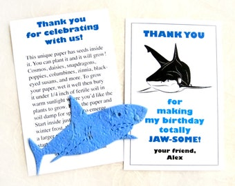 24 Plantable Shark Birthday Party Favors - Flower Seed Paper Sharks - Totally Jawsome Thank You cards