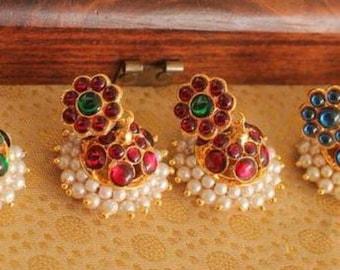 temple jewelry/kemp earrings/indian earring/jhumka/jhumki/silver earrings/ethnic earrings/indian jewelry,/jhumka earrings
