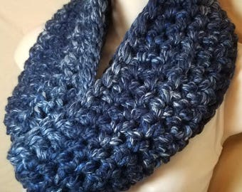 Navy Blue Wool Cowl Infinity Circle Scarf Neckwarmer