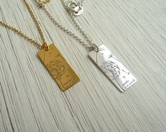Sterling Silver Dandelion Necklace, Wish Necklace, Make a Wish Jewelry, Dandelion Pendant Necklace, Dandelion Bar Necklace