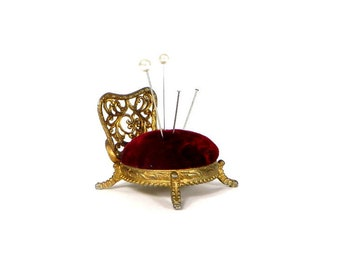 Vintage Pin Cushion Miniature Gold Metal Chair With Burgundy Velvet Seat Vintage Sewing Tools Filigree Back Pincushion Chair