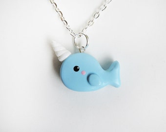 Polymer Clay Blue Narwhal Charm Necklace