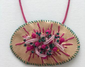 Oval Rose Gold Embellished Necklace