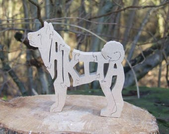 Japanese Akita jigsaw, American Akita puzzle, Akita ornament,  Akita gift, Akita memorial,