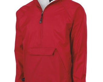 Monogrammed Pullover Wind and Rain Jacket Red