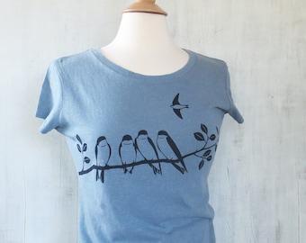 Womens Hemp Organic Cotton T-shirt with Swallows - Light Blue