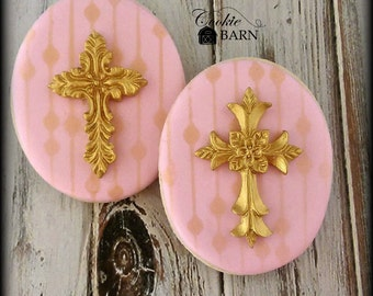 Christening Baptism First Communion Cross Decorated Sugar Cookies