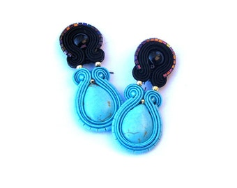 Turquoise Clip On Earrings Unique Handmade Soutache Earrings Hand Embroidered Soutache Earrings