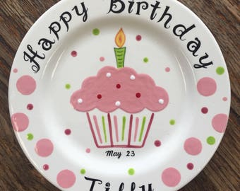 Pink cupcake Personalized Hand Painted Birthday Plate or Special Occasion Plate