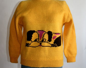 vintage Bright Yellow Sweater Novelty Dog 1970s Hand knit Size Small