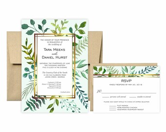 Greenery and Gold Modern Invitation Suite: 5x7 Invitation, RSVP Card, Envelopes