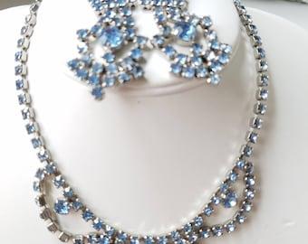 Vintage Demi Parure, Unsigned Beauties, Chandelier Earrings, Ice Blue Rhinestones Choker & Earrings, 1950's Hollywood Glam Set,