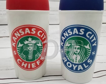 10 Oz Kansas City Chiefs or Royals ceramic coffee mug with push on silicone lid or 32 oz acrylic tumbler with straw.
