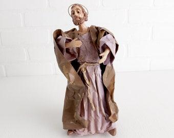 Vintage Papier Mache Joseph Figurine, Creche Figurine, Replacement Nativity Person