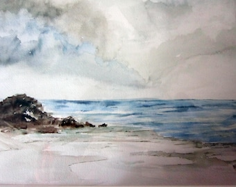 A Cloudy Beach, watercolor print, watercolor art, watercolor print, beach art, beach painting, landscape painting, beachscape.