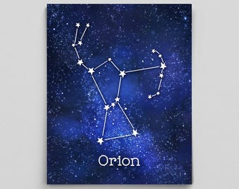 Orion Constellation Art Orions Belt Constellation Print Astrology Print Astrology Art Custom Astrology Gifts for Her Science Gifts for Him
