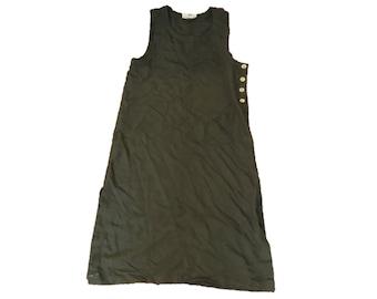 90s Shirt Dress Army Green Sleeveless Dress Minimal Safari Dress Summer Dress Womens Medium Large